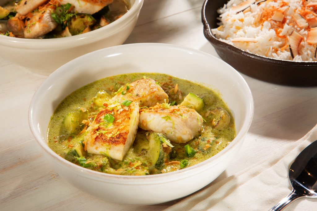 Recipe for Basa Loins with Green Curry and Coconut Rice